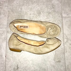 Paul Green oatmeal rosette suede leather flats